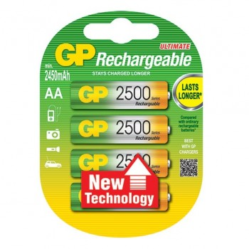 AA (LR06) Pilha Recarregável GP 2500mAh (4 unid)