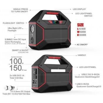 Bateria portátil de lítio 155Wh, output AC e DC