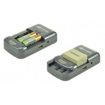 Carregador universal de baterias de câmaras fotográficas, video, telemóveis e pilhas recarregáveis