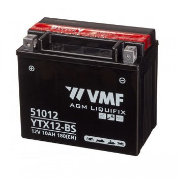 Bateria mota YTX12-BS 12V 10Ah VMF alta performance 150x87x130mm +/-