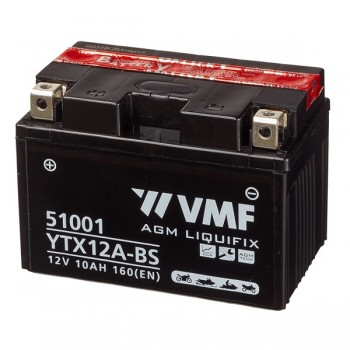 Bateria mota YT12A YTX12A 12V 10Ah VMF alta performance 150x87x106mm +/-