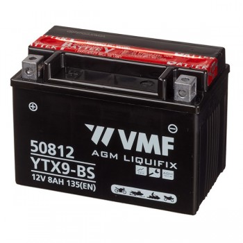 Bateria mota YTX9-BS 12V 8Ah VMF alta performance 44025, 50812, 508 012 008, 508012008, 549635, 6E9, 740-1825, 9-BS, CTX9-BS, CYTX9-BS, ETX9, FTX9-BS, GTX9-BS, LTX9-BS, M329BS, YTX9, YTX9-4, YTX9-BS