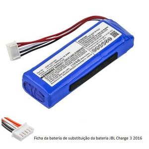 Bateria JBL Charge 3 2016 compatível 3,7V 6000mAh 22.2Wh