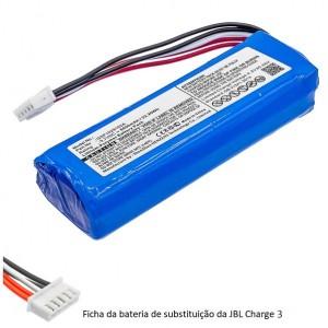 Bateria JBL Charge 3 GSP1029102A compatível 3,7V 6000mAh 22,2Wh