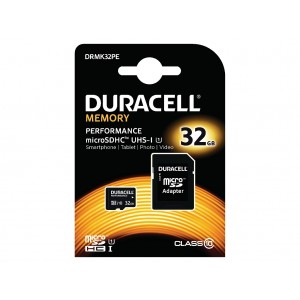 Cartão Duracell 32Gb micro SD Class 10 UHS-I U1 + adaptador SD