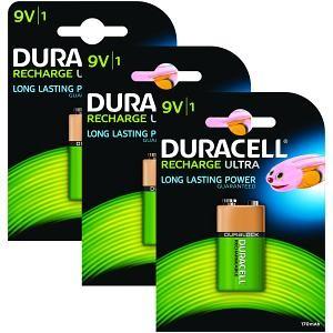 9v (6LR61) Pilha Recarregável Duracell 170mAh (3 unid)