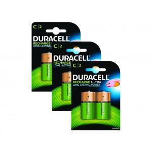 C (LR14) Pilha Recarregável Duracell 3000mAh (6 unid)