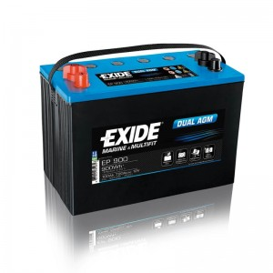 Bateria Dual AGM 12V 100Ah 720A 900Wh EXIDE Arranque + Descarga (#EP900)