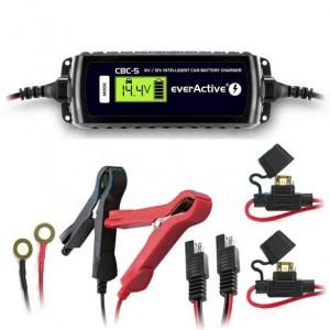 Carregador baterias chumbo, AGM e Gel - 6V / 12V - 3.8A max (everActive CBC-5)