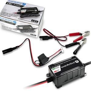 Carregador baterias chumbo, AGM e Gel - 6V / 12V - 1A max (everActive)