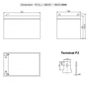 Bateria 12V 12Ah High Rate (term. F2) Heycar AGM chumbo