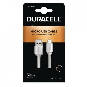 Cabo 1Mtr micro USB (Duracell) branco USB5013W