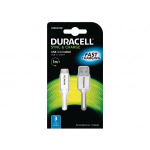 Cabo 1Mtr USB Type A para USB Type C (Duracell) - branco