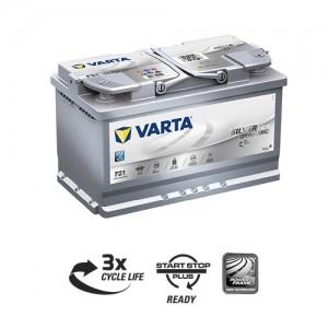 Bateria automóvel 12V 80Ah 800A VARTA Silver Dynamic AGM F21 (Start-Stop)