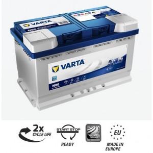 Bateria automóvel 12V 80Ah 800A VARTA Blue Dynamic EFB N80 (Start-Stop) 315x175x190mm -/+