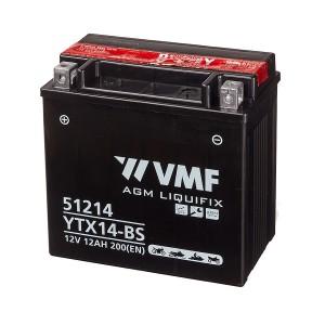 Bateria mota YTX14-BS 12V 12Ah VMF alta performance 150x87x146mm +/-