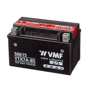 Bateria mota YTX7A-BS 12V 6Ah VMF alta performance 469665, 50615, 506 015 005, 506015005, 549629, 6E7A, 7A-BS, CYTX7A-BS, FTX7A-BS, GTX7A-BS, LTX7A-BS, YTX7A-BS, YTX7A-4, YTX7A